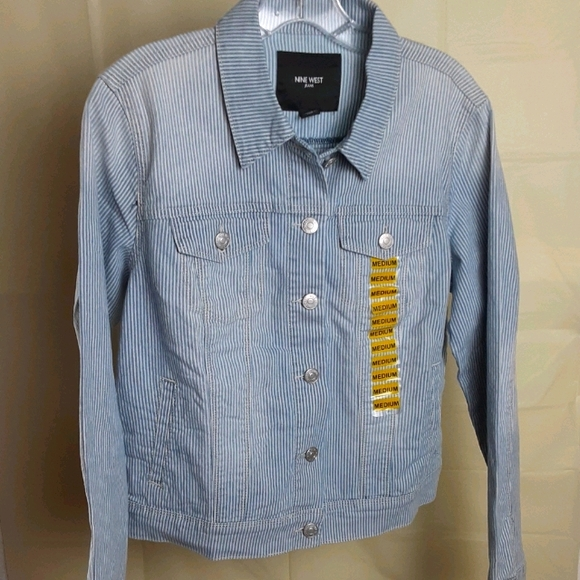 NWT Striped Jean Jacket Size Medium